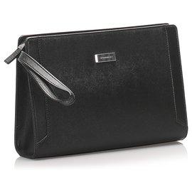Burberry-Burberry Black Leather Clutch Bag-Black