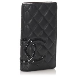 Chanel-Chanel Black Cambon Ligne Lambskin Leather Long Wallet-Black