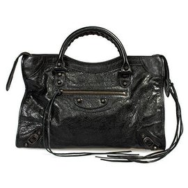 Balenciaga-Balenciaga Black Leather Medium City Handbag-Black