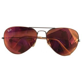 Ray-Ban-Ray-Ban Red Aviator Sunglasses-Red,Dark red
