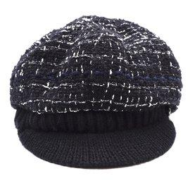 Chanel-Chanel Black Tweed Newsboy Runway Celebrity Hat-Black