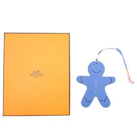 Hermès-Hermès Birkin Kelly Petit H Gingerbread Leather Charm-Bleu