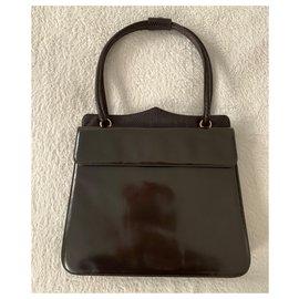 Yves Saint Laurent-Vintage YSL brown handbag-Dark brown