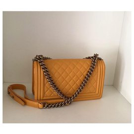 Chanel-CHANEL BOY YELLOW CRYSTAL LEATHER NEW-Yellow