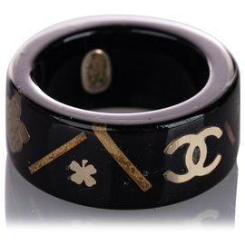 Chanel-Chanel Black CC Camellia Ring-Black,White