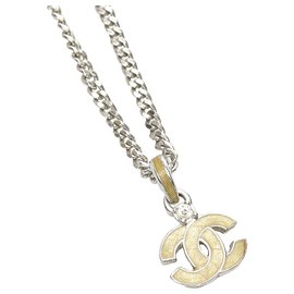 Chanel-Chanel Silver CC Pendant Necklace-Silvery