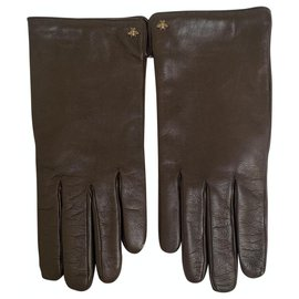 Gucci-Gucci Gloves Brown Leather Bee-Brown