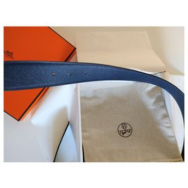 Hermès-Reversible single belt in epsom calf leather 38MM-Navy blue