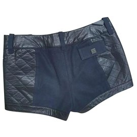 Chanel-Chanel Black Leather Navy Polyester Shorts Sz 38-Multiple colors