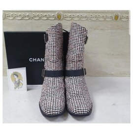 Chanel-Chanel Multicolor Tweed Ankle Boots CC Sz.39.5-Multiple colors