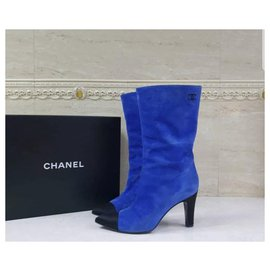 Chanel-Chanel Gabrielle Blue Suede Heeled Boots Sz.37,5-Blue