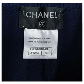 Chanel-Chanel Cashmere Navy Shorts Sz 36-Navy blue