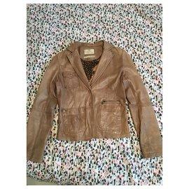 Ikks-Lambskin jacket-Beige