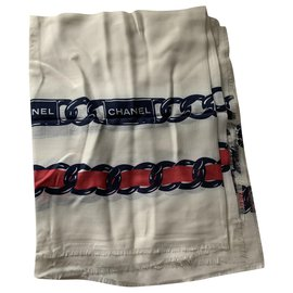 Chanel-Scarves-White,Red
