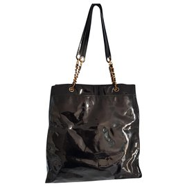 Chanel-Chanel CC Logo Tall Chain Tote Black Patent Leather-Black,Gold hardware