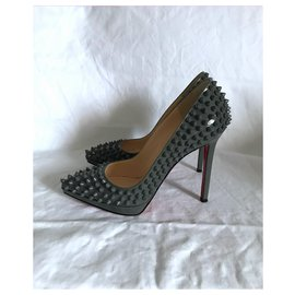 Christian Louboutin-Christian Louboutin Plato Spikes Pumps-Dark grey