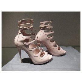 Alexander Mcqueen-Alexander McQueen nude-coloured lace-up sandals-Beige