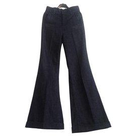 7 For All Mankind-vintage 7 for all Mankind - Jean évasé taille haute en délavage foncé.-Bleu Marine,Bleu foncé