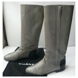 Chanel-CHANEL Gray calf leather riding boots Good condition T.40 IT-Grey