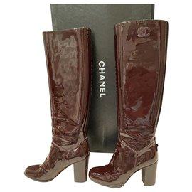 Chanel-Chanel vinyl-style boots-Dark brown