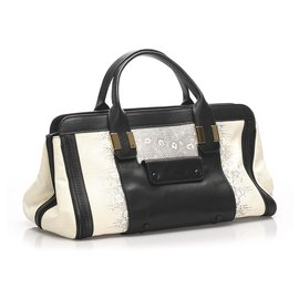 Chloé-Chloe White Alice Leather Satchel-Black,White