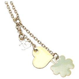 Chanel-Chanel Gold CC Clover Heart Pendant Necklace-Golden