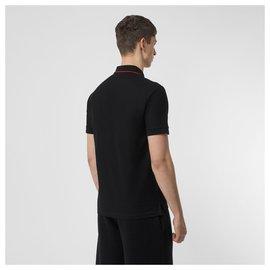 Burberry-BURBERRY Icon Stripe Placket Cotton Piqué Polo Shirt-Black