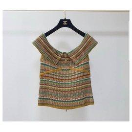 Chanel-8  Chanel 17C Paris Cuba Knit Off Shoulder Sleeveless Top-Multiple colors