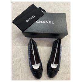 Chanel-QUILTED CHANEL BALLERINAS-Black