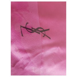 Yves Saint Laurent-Glamour LUXE 102cms  x 102 cm SOIE Shawl-Pink,Other