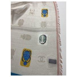 Chanel-CHANEL cashmere silk stole-Multiple colors
