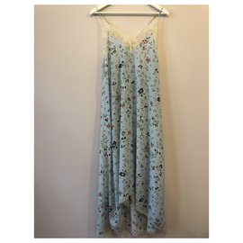 Zadig & Voltaire-Risty Uma long blue silk dress with flower print from Zadig et Voltaire size XS.-Blue,Light blue
