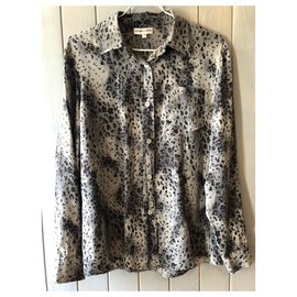 Gerard Darel-Gérard Darel gray and black leopard print silk blouse size 40-Black,Grey,Dark grey