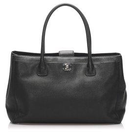 Chanel-Chanel Black Executive Cerf Caviar Leather Tote Bag-Black