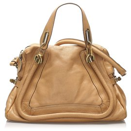Chloé-Chloe Brown Medium Paraty Leather Satchel-Brown,Beige