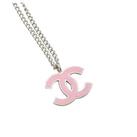 Chanel-Chanel Silver CC Necklace-Silvery,Pink