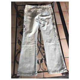 Roberto Cavalli-jeans-Argenté,Bleu clair