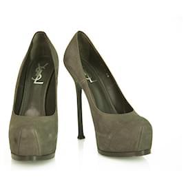 Yves Saint Laurent-Yves Saint Laurent YSL Tribute TRIBTOO Gray Suede Leather Round toe Platform Heels Pumps 40-Dark grey