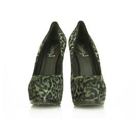 Yves Saint Laurent-Yves Saint Laurent Gray Leopard Calf Hair Tribute Tribtoo Heels Pumps 40 shoes-Grey