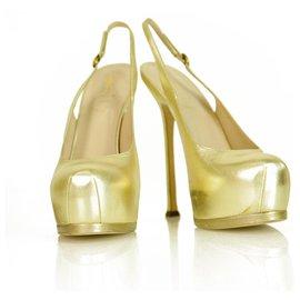 Yves Saint Laurent-NEW Yves Saint Laurent YSL Tribute TRIBTOO gold leather Slingback Heels 40-Golden