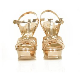 Yves Saint Laurent-Yves Saint Laurent YSL Tribute Rose Gold leather Slingback Platform Sandals 40-Golden