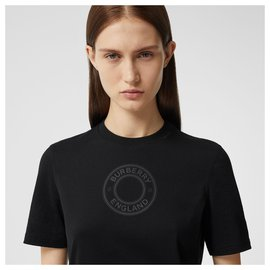 Burberry-BURBERRY Logo cotton t-shirt BLACK-Black
