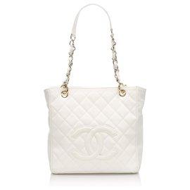 Chanel-Chanel White Caviar Petit Shopping Tote Bag-White,Cream