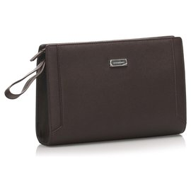 Burberry-Burberry Brown Leather Clutch Bag-Brown,Dark brown