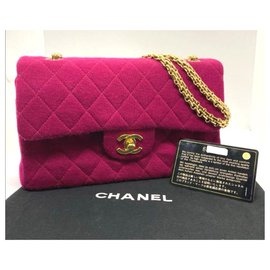 Chanel-Vintage Chanel Pink Jersey Medium Timeless classic flap bag-Pink