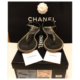 Chanel-Chanel Diamanté chain sandals EU36-Other
