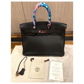 Hermès-HERMES BIRKIN 35 Black Togo with Palladium hardware-Black
