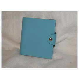 Hermès-HERMES cover mini Ulysse leather Togo turquoise notebook New-Turquoise