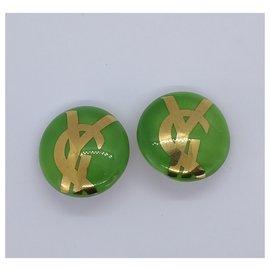 Yves Saint Laurent-green and gold round curls-Golden,Light green
