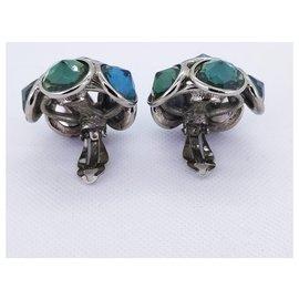 Yves Saint Laurent-multi stone earrings-Silvery,Turquoise